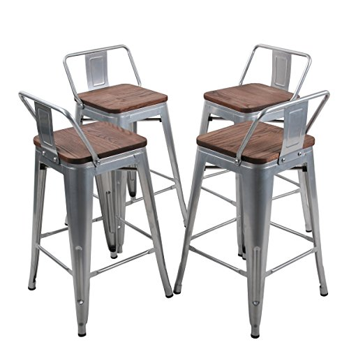 YongQiang Set of 4 Metal Barstools Home Kitchen Dining Chair Counter Stool Cafe Side Chairs with Wood Seat 24L-Silver W