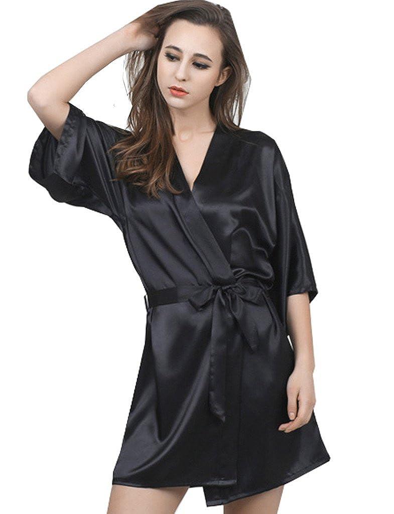 BELLOO Ladies Satin Kimono Robe Short Silk Dressing Gown: Amazon.co ...