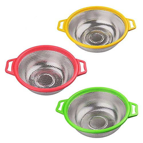 Colander Set - Kitchen Supply Colander Set of 3 Stainless Steel Mesh Strainers,Colanders Net Baskets with Handles,Resting Base Drain, Rinse, Steam or Cook