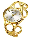 Top Plaza Women Fashion Gold Tone Circle Band Arabic Numeral Scale Bangle Cuff Dress Bracelet Watch