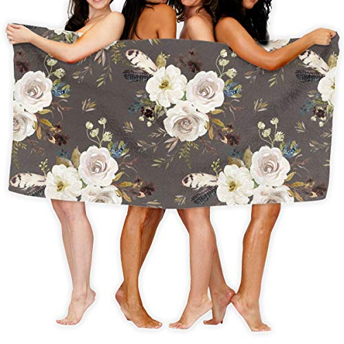 Beach Towel 4 Autumn Harvest Flowers - Brown Soft Lightweight Absorbent for Bath Swimming Pool Yoga Pilates Picnic Blanket Towels