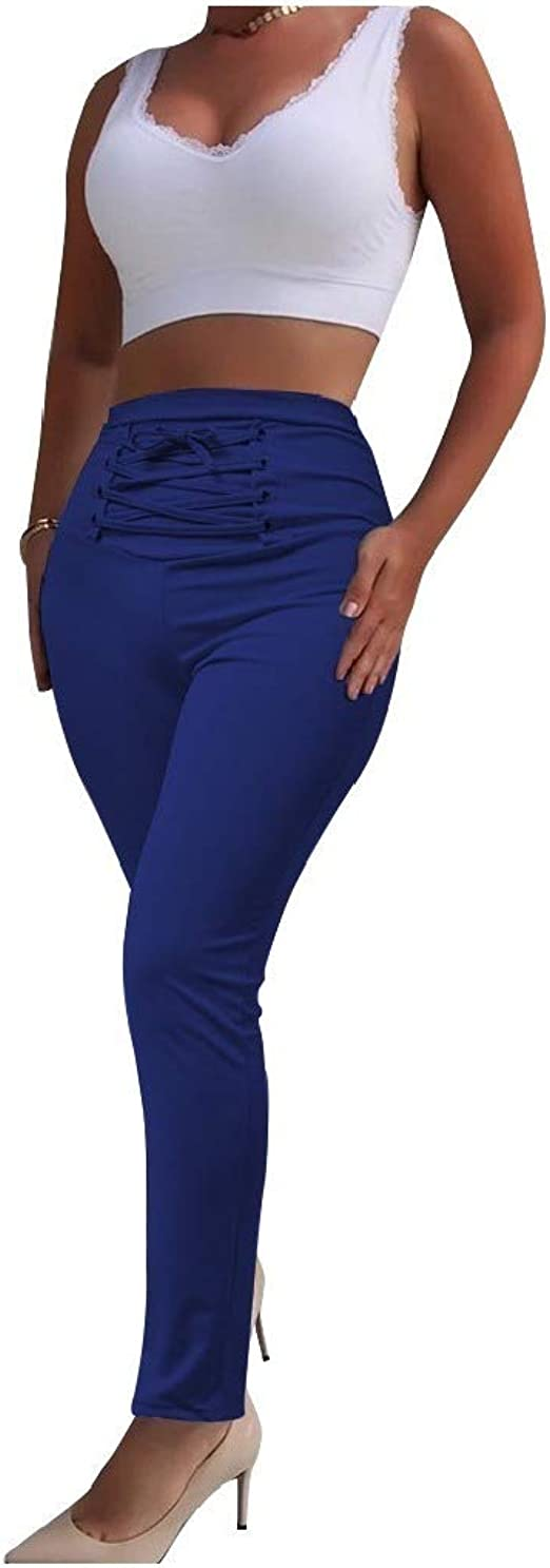 YAXINHE Womens Stretchy Fabric Solid Color Work To Weekend High Waist Ankle Pants