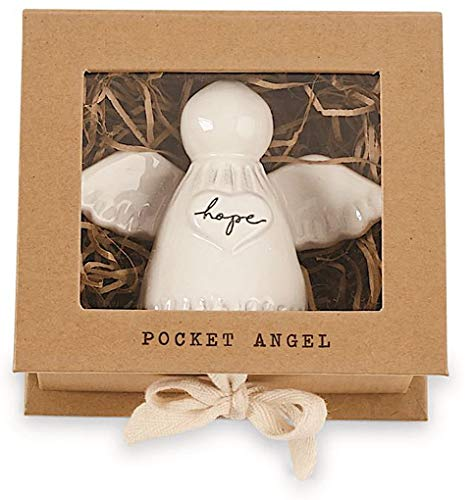 Mud Pie Hope Pocket Angel Milk Glazed Terra-Cotta with Metal Halo 3.5 Inches