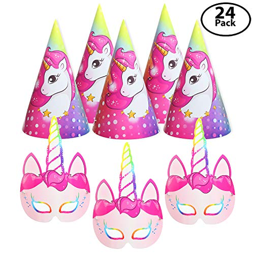 12 Pack Unicorn Party Paper Face Masks, Bundle with 12 Unicorn Party Hats - For the Unforgettable Unicorn Themed Birthday Party - The Party Favors Pack to Make Sparkle Wherever You Go!