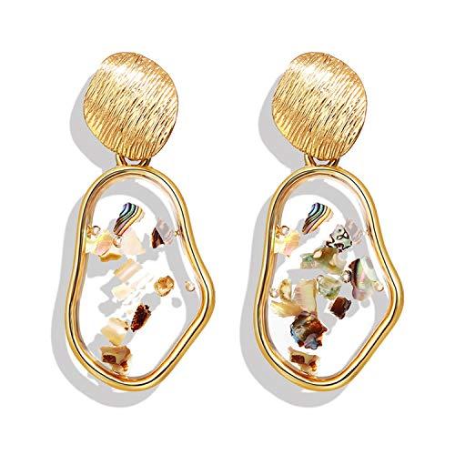 Geometric Nugget - Crystal sugar Korean Vintage Geometric Dangle Earring for Women Round Heart Gold Color Fashion Drop Earrings Jewelry 2019 New,Black Zinc Plated