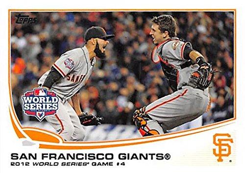 San Francisco Giants win 2012 World Series celebration baseball card 2013 Topps #67 Buster Posey Sergio Romo (San Francisco Giants Win World Series 2012)