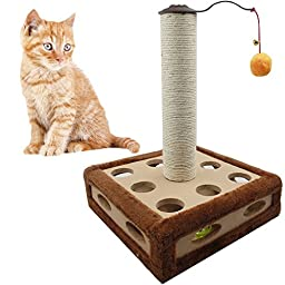 Pelay Scratching Post Cat Tower Activity Tree With Plush Toys for Kitten Pets (M6B)