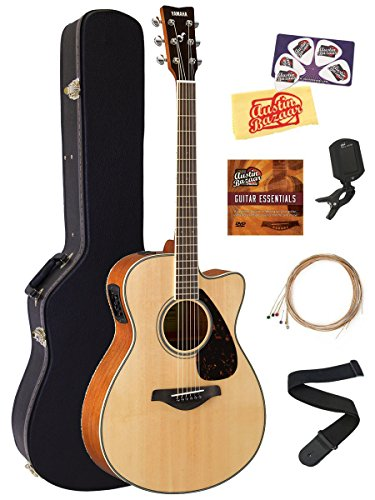 Yamaha FSX820C Small Body Acoustic-Electric Guitar Bundle with Hard Case, Tuner, Strap, Instructional DVD, Strings, Picks, and Polishing Cloth – Natural
