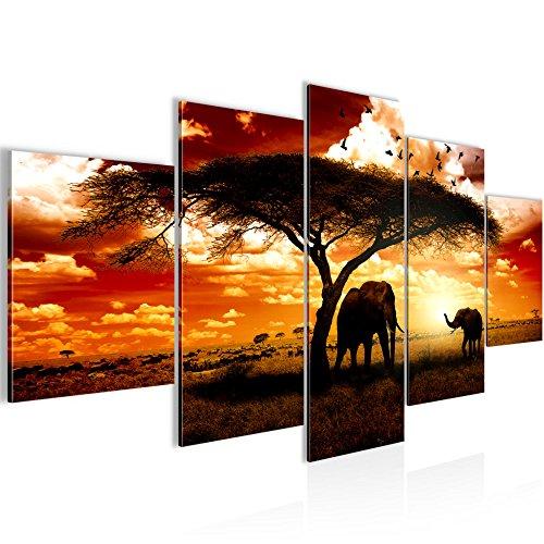 prestigeart-Bilder-Afrika-Sonnenuntergang-Wandbild-Vlies-Leinwand-Bild-XXL-Format-Wandbilder-Wohnzimmer-Wohnung-Deko-Kunstdrucke-Orang-5-Teilig-100-MADE-IN-GERMANY-Fertig-zum-Aufhngen-001552a