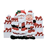 Personalized Santa and Mrs. Claus Presents of 7 Christmas Ornament - Mr. & Miss in Red Suit Bring Gifts - Family Friends Grand-Children Kids Tradition Surprise Toys - Free Customization (Seven) -  Ornaments by Elves