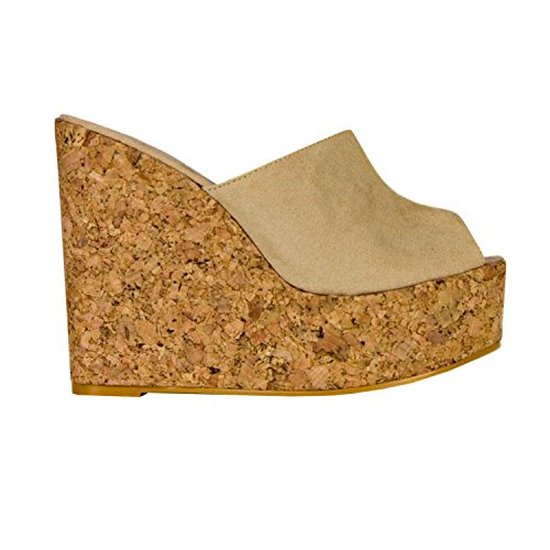 Syktkmx Womens Platform Wedge Sandals High Heel Slip on Peep Toe Cork Mules Slides (8 B(M) US, Khaki)