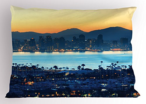 USA Pillow Sham by Ambesonne, San Diego at Sunrise in Harbor Waterfront Cityscape Business District, Decorative Standard Queen Size Printed Pillowcase, 30 X 20 Inches, Yellow Light Blue Dark - Waterfront Stores At