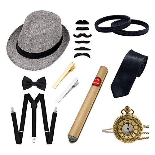 Ziyoot Men's 1920s Accessories Gatsby Gangster Costume Set Gangster Beret Y-Back Suspender Classic Satin Bow Tie Mens Necktie Tie Clips Set for Men (01 Gray) ()