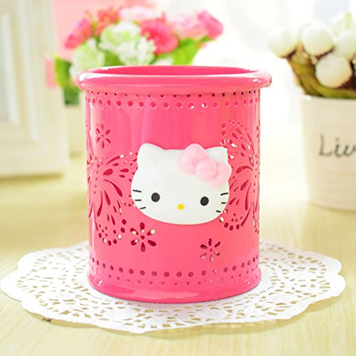 17cbc519a good YOURNELO Cute Hello Kitty Hollow-Out Pen Pencil Holder Desk Organizer  Accessories (Rose