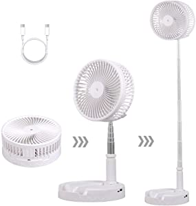 Portable Desk and Table Telescopic Fan,Height Adjustable Folding Pedestal Stand Floor Fan USB Rechargeable Air Circulator Mute Fan With 4 Speed Settings For Office,Home,Outdoor,Camping(White)