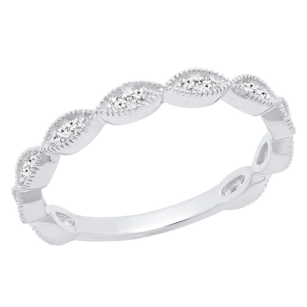Dazzlingrock Collection 0.12 Carat (ctw) 14K Round Diamond Ladies Anniversary Wedding Stackable Band, White Gold, Size 6.5