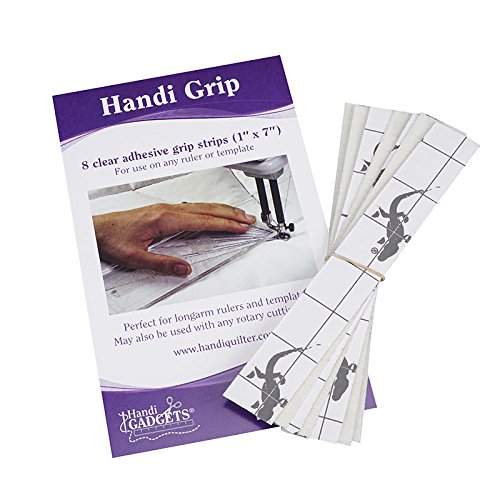 Handi Grip Adhesive Strips: 12 Clear 1-Inch x 5-Inch Strips for Use on Any Ruler or (Quilters Template)