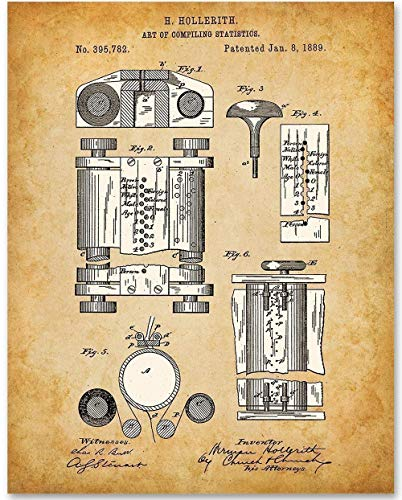 First Computer 1889-11x14 Unframed Patent Print - Great Gift for IT Professionals, Programmers and Geeks