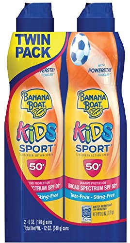Banana Boat Kids Sport Broad Spectrum Ultra Mist Sunscreen Spray Twin Pack with SPF 50, 12 Ounce