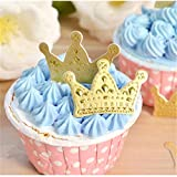Yunko 100 Pcs Golden Crown Cupcake Toppers Cake Decoration Birthday Party Favors