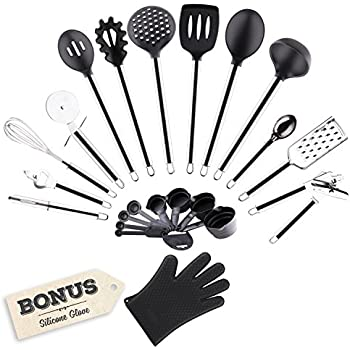 Golden Chef - Premium 22-PIECE Stainless Steel & Silicone Cooking Utensils Home Kitchen Tools And Gadgets Set - Includes Measuring Cups, Spoons, And Free Silicone Glove