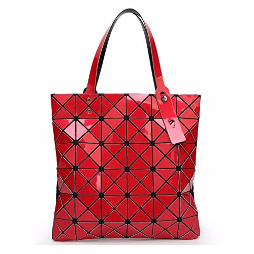 Red Croc Pattern (Bag Female Folded Geometric Plaid Bag Fashion Casual Tote Women Handbag Shoulder Bag Style Japan (Red)