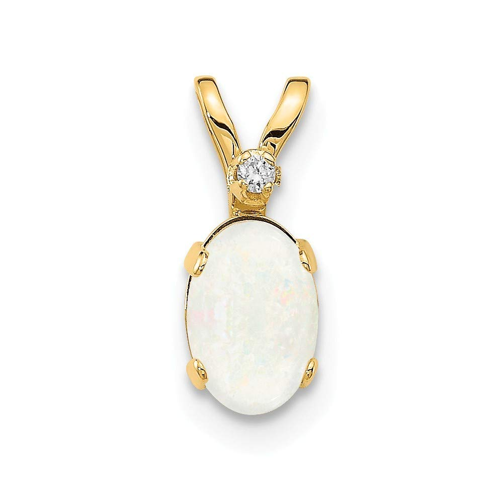14K Yellow Gold Diamond And Opal Birthstone Pendant from Roy Rose Jewelry
