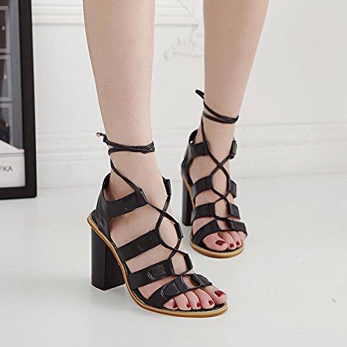 LvYuan-mxx Sandalias de las mujeres / verano de la primavera / zapatos retros de Roma / correa cruzada del cordón / talón grueso / dedo del pie abierto / comodidad ocasional / oficina y vestido de la  BLACK-40