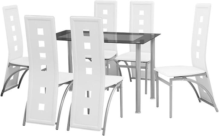 FESTNIGHT Set Sala da PranzoTavolo Cucina con sedie 7 Pezzi
