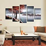 """Amazon Price History for:ARTLAND 100% Hand Painted Framed Wall Art """"Red Tree In the Winter"""" 5-Piece Modern Landscape Oil Painting on Canvas Ready to Hang for Living Room for Wall Decor Home Decoration 28x50inches"""