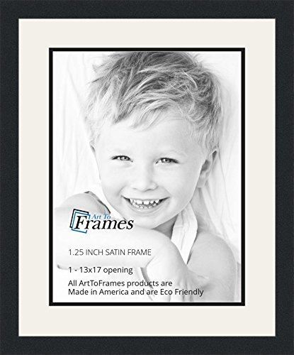 ArtToFrames Collage Photo Frame Double Mat with 1 - 13x17 Openings and Satin Black Frame