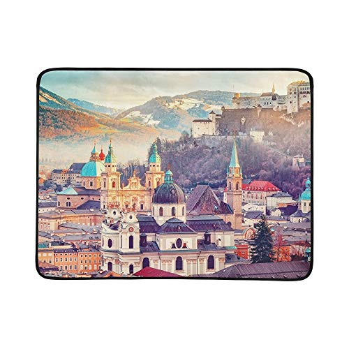 YSWPNA Salzburg Austria Europe City Alps Mozart Portable and Foldable Blanket Mat 60x78 Inch Handy Mat for Camping Picnic Beach Indoor Outdoor Travel