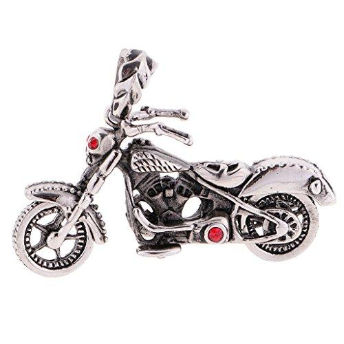 Jili Online Men's Red Eyes Skull Head Motorcycle Pattern 316L Stainless Steel Pendant