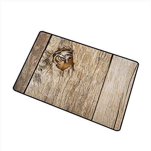 (Safari Outdoor Doormat Siberian Tiger Eye Looking Through Wooden Peep Hole in Spy Predator Big Cat Wild Print for Outdoor and Indoor 24