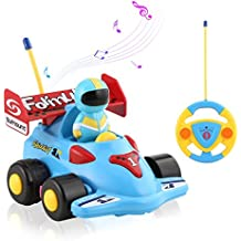 ICOCO Remote Control Cartoon Racing Action Figure RC Car - Radio Control 2 Channels Music Light Vehicles Educational Recognition Toy Car for Toddlers Babies Kids Children to Play Best Gift