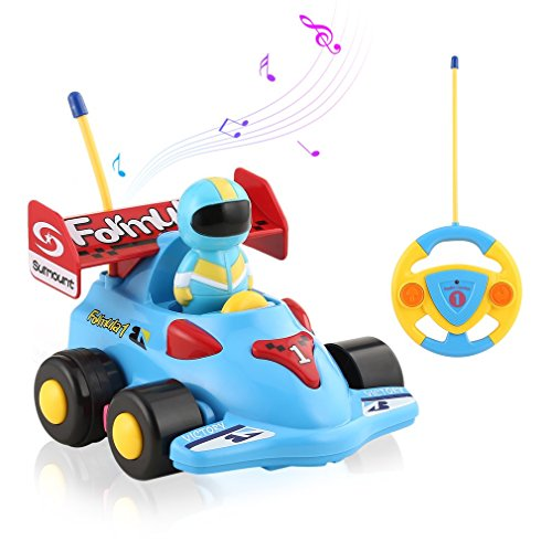 ICOCO Remote Control Cartoon Racing Action Figure RC Car - Radio Control 2 Channels Music Light Vehicles Educational Recognition Toy Car for Toddlers Babies Kids Children to Play Best Gift 2 Channel Rc Radio Controlled