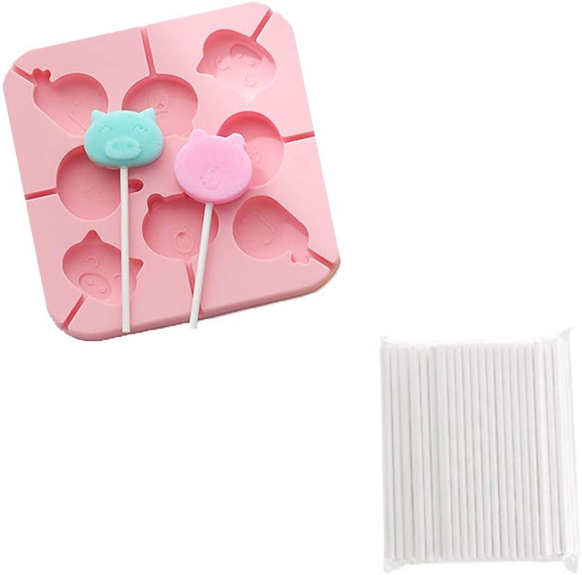 Lollipop Mold,Candy Mold, Chocolate Mold,8-Capacity Jumbo animal Silicones, Chocolate Hard Candy Mold with 100pcs Lollypop sucker sticks, whale,pig(Pink, 1pcs)