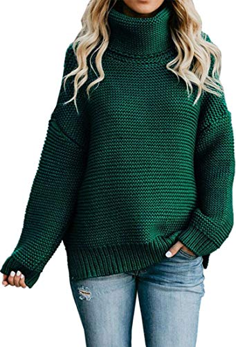 Angashion Women's Casual Long Sleeve Turtleneck Cable Knit Oversized Pullover Sweater Tops Green L