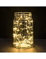 2 Pack Battery Fairy Lights, 5M 50 LEDs Battery Powered Silver Wire String Lights Indoor Outdoor Fairy Lights for Bedroom Jars Camping Wedding Party Festival Tree Decorations - Warm White