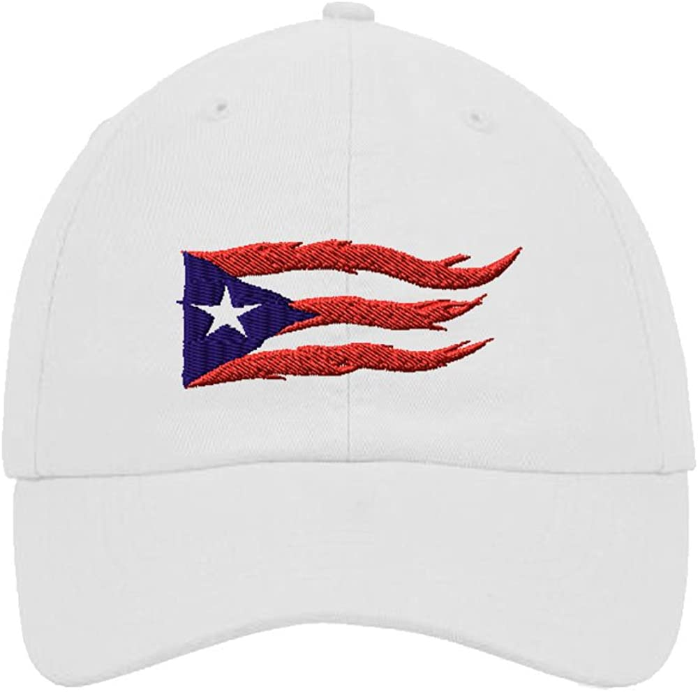 Puerto Rico Flame Flag Embroidery Twill Cotton 6 Panel Low Profile Hat White