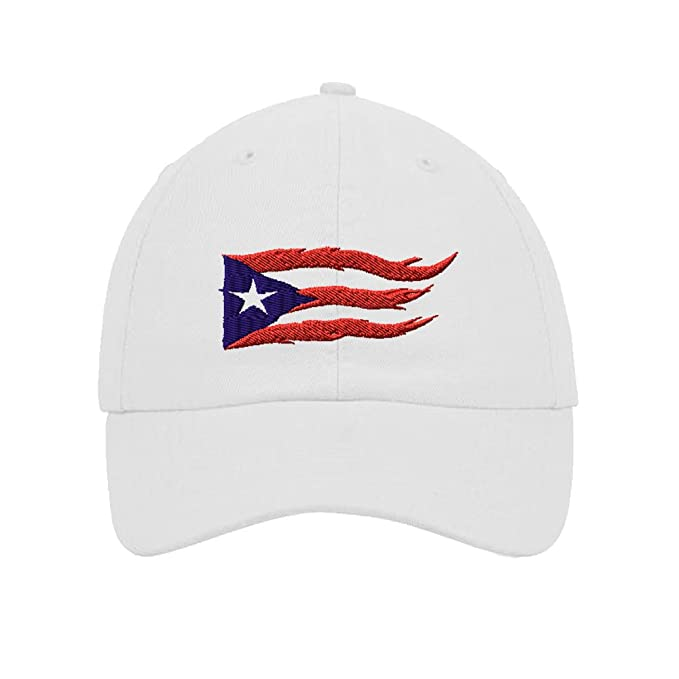 19771436bb8997 Image Unavailable. Image not available for. Color: Puerto Rico Flame Flag Embroidery  Twill Cotton 6 Panel Low Profile Hat White
