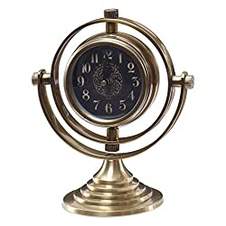 Retro Vintage Style Brass Table Clock | Black Face Swivel Antique