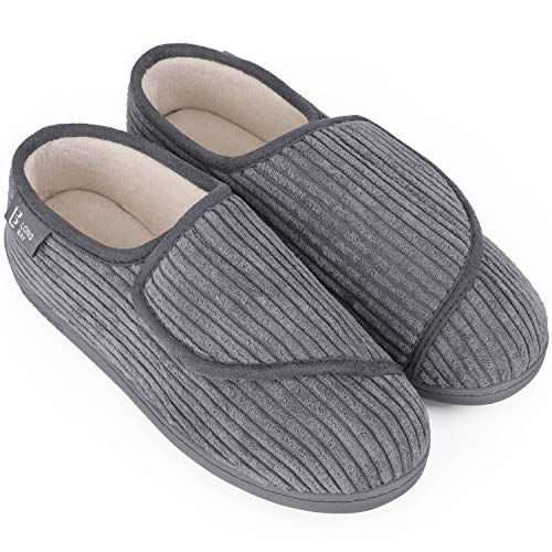 LongBay Women's Furry Memory Foam Diabetic Slippers Comfy Cozy Arthritis Edema House Shoes (8 B(M), Gray Corduroy)
