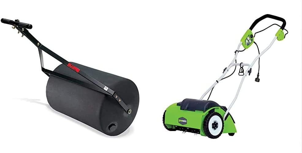Brinly PRC-24BH 270-Pound Combination Push/Tow Poly Lawn Roller, 18 by 24-Inch & Greenworks 14-Inch 10 Amp Corded Dethatcher 27022