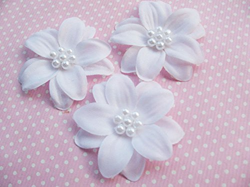 YYCRAFT 30pcs 2-Layer White Cute Pearl 2