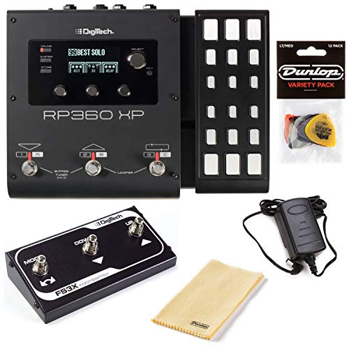 Digitech RP360XP Multi-Effects Pedal Bundle with FS3X 3-Button Foot Switch, Polishing Cloth, and Variety Pick Pack