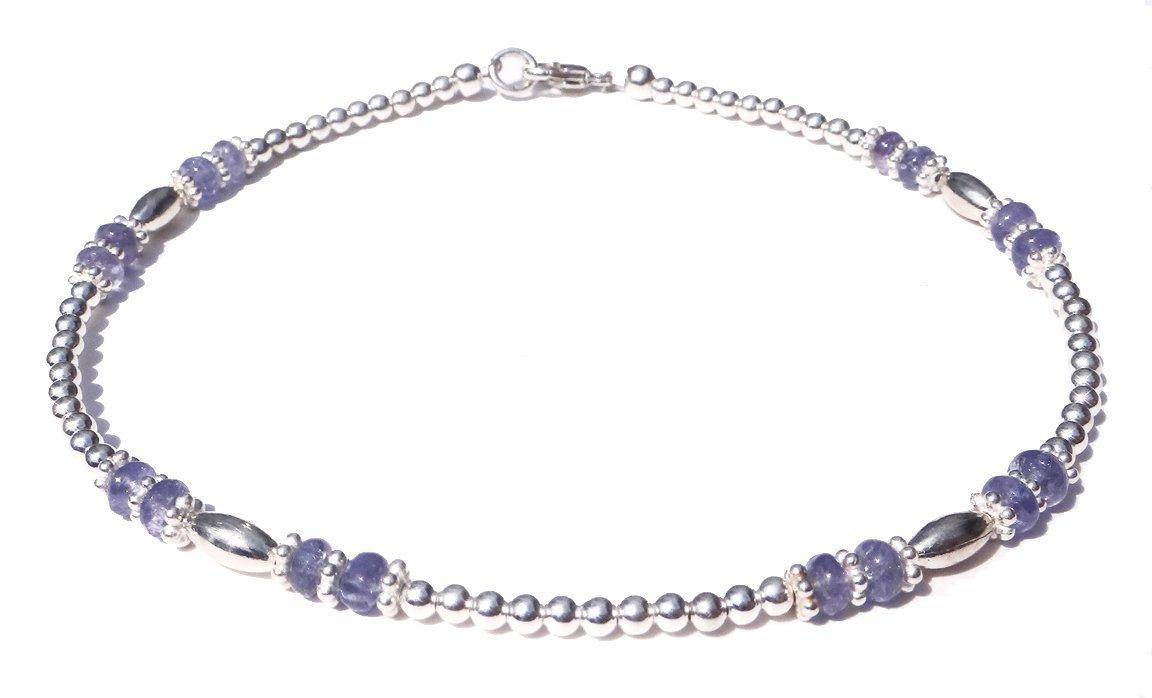 Sterling Silver Gemstone Ankle Bracelet