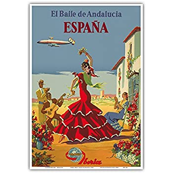 España (Spain) - El Baile de Andalucia (The Dance of Andalusia) - Iberia Air Lines of Spain - Flamenco Dancers - Vintage Airline Travel Poster by Unknown c.1950s - Master Art Print - 13in x 19in
