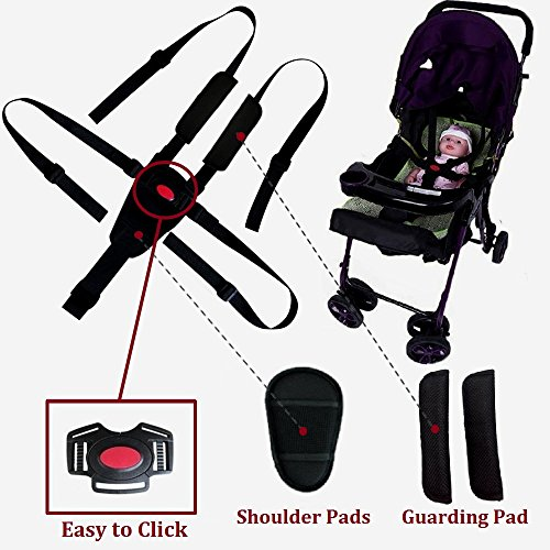 Seat Belt by AT,5/3/2 Point Adjustable for Baby Kid Safe Strap for Stroller High Chair (Include Shoulder Pads & Guarding Pad) (Replacement Stroller Strap)