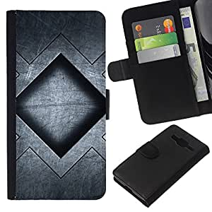 All Phone Most Case / Oferta Especial Cáscara Funda de cuero Monedero Cubierta de proteccion Caso / Wallet Case for Samsung Galaxy Core Prime // Grey Black Pattern Square